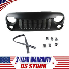 USA- Front ABS Matte Grill with Mesh Angry Bird Grid For 07-17 Jeep Wrangler JK