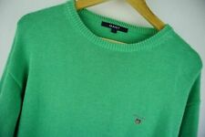 B158 GANT ROUND NECK GREEN COTTON SWEATER size L, EXCELLENT CONDITION