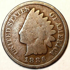 1886 Indian Head Cent, Variety II, Bronze, Better Date,  L@@K!!!