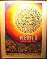 Mexico: Aztec Calendar Original  1950's Travel Poster