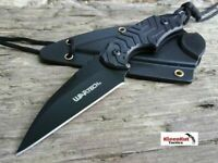 "WARTRECH 6"" Fixed Drop Point Tactical Survival Neck Knife Hunting Survival BLACK"