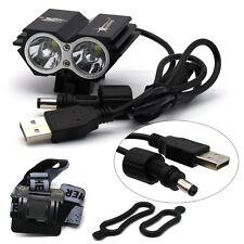 X2 Black 5000 LM USB+DC Interface 2x CREE T6 LED Bike Bicycle Light Headlight