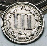 1865 Three Cent Nickel Piece 3C High Grade Choice Civil War Date US Coin CC6507