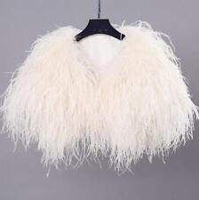 Ostrich Feather Furry Fur Coat Jacket Bridal Bolero Formal Occasion Custom
