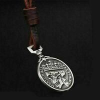 Herren Charme Silber Schädel Anhänger echten Legierung Leder Halskette Gesc Z9T8