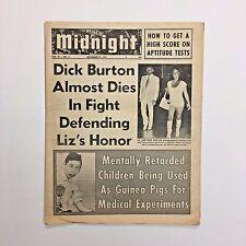 Midnight Magazine Tabloid Newspaper 1971 Dick Burton Linda Grant Liz Taylor