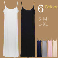 Stretchy Bandage Fitted Basic Extra Long Spaghetti Strap Cami Tank Slip Dress