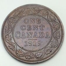 1919 Canada Copper 1 One Large Cent Penny Circulated Canadian Coin D354