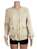 BAR III Women's Size Small S Beige Lightweight Front Zip Bomber Utility Jacket