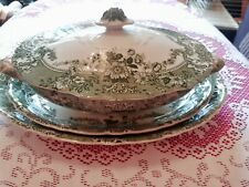 More details for antique , green lidded tureen,soup dish wood & son,  and 2 large serving plates