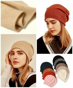 Rollkante Unifarbe Damen lässig Kaschmir-Wolle Cashmere Beanie Strick-Mütze