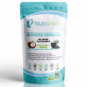 Activated Charcoal 600mg - 90 Capsules - Reduce Flatulence Gas Bloating Detox