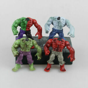 """4Pcs/Set The Incredible Avengers Hulk Green Red Action Figure Toys 4.3"""" Gift"""