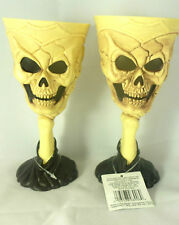 Skeleton Skull Wine Goblet Halloween Scary Party Drink Cup Decoration (Set of 2)