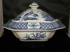 """Wood & Sons """"Yuan"""" Blue & White Covered Vegetable Dish England"""