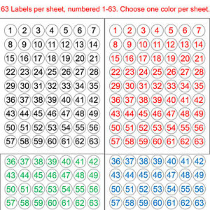 """Number 1-63 or 64-126 Sequentially Numbered Stickers 1"""" Round Circle Label Color"""