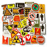 50 Pcs Warning Sign Stickers Decals for Laptop Luggage Skateboard Wall Graffiti