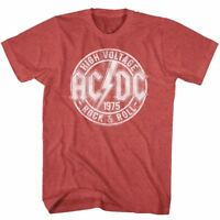 ACDC Mens New T-Shirt '75 High Voltage Red Heather in Sizes SM - 5XL Licensed