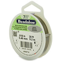 Beadalon 7 Strand Jewelry Wire .018 Bright 30 Ft Roll Jewelry Beading Wire JW03T