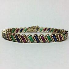 15Ct 14k Yellow Gold Over Princess Ruby Emerald Sapphire Diamond Tennis Bracelet