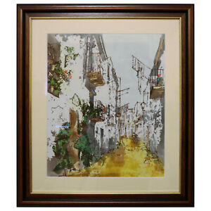 Bernard Dufour Original Oil on Canvas Mediterranean Scene circa 1950-1960