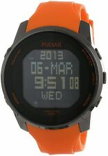 Pulsar PQ2013 Mens World Time Digital Chronograph Black Dial Orange Rubber Watch