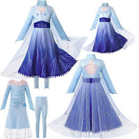 Kid Girls Frozen Fancy Dress Up Princess  World Book Day Cosplay Party Costume