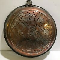 Large French Copper Colander Vintage Farmhouse Country 13""