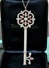 $60000 Tiffany Platinum Rose Gold Fancy Natural Pink Diamond Flower Key Necklace