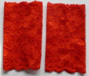 Stulpen handgenäht Handarbeit neu Spitze rot 15,5 cm lang 9 cm breit