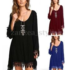 Women Low Cut Tassels Hem Lace Crochet Long Sleeve T-shirt Top Blouse Mini Dress