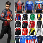 Men Marvel Compression Long Sleeve T-shirt Runnning Jersey Under Base Layer Top