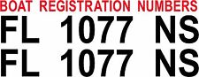 Boat Registration Decal numbers Stickers Graphics Set of 2