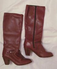 vintage 70's knee high high heel brown leather zip boots Brazil 8 M