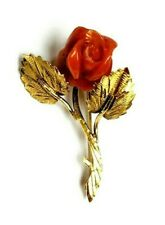 Vintage 18K Gold Flower Brooch Pin Pendant Red Coral Rose