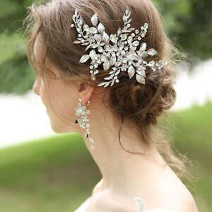 18 x 11cm Handmade Flower Bridal Head Pieces Hair Clip Accessories Earrings