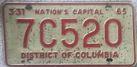 GENUINE 1965 Washington DC USA License Licence Number Plate 7C520