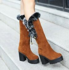 Winter Fleece Fur Lined Suede Fabric Women's Pull On Thicken Snow Mid Calf Boots