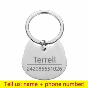 Personalized Pet ID Tag Cat Dog Keychain Engraved Name Collar Pendant Keyring