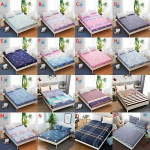 Floral Wrap Around Elastic Fitted Sheet Single Double King Size Bedding Sheet