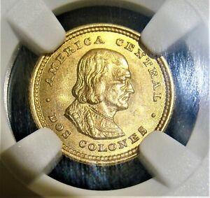 Costa Rica: Republic gold 2 Colones 1900 MS65 NGC.