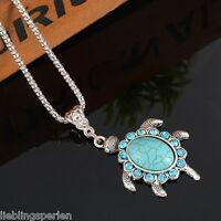 L/P:Boho Halskette mit Schildkröte Türkis Anhänger Silberkette Blau Strass 47cm
