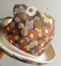 Damen Hut *** Sonnenhut mit Krempe und Innenfutter * Blumenmuster