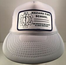 Vintage Hazard Fire School Grey Rope Front Snapback Trucker Hat Cap Mesh Back