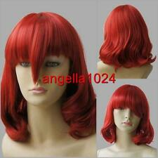 Synthetic medium (37cm) new cherry red cosplay party wavy wigs Free shipping 272