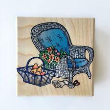 Hero Arts Wicker Chair Rubber Stamp F1219 Fruit Basket Flowers Gardening Gloves