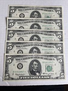 1963 Consecutive With Star ( *) $ 5 Dollar Bill US Notes Lot of 5