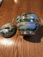 Antique (Early 1900's) Japanese Hand Painted Two Handled Lidded Bowl