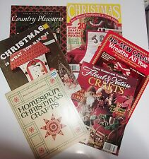6 Christmas Craft Book Lot Needlepoint Crochet No Sew Wreaths Fabric Wood Floral