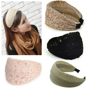 Oversized Lace Headbands For Women Floral Embroidery Wide Headband For Ladies